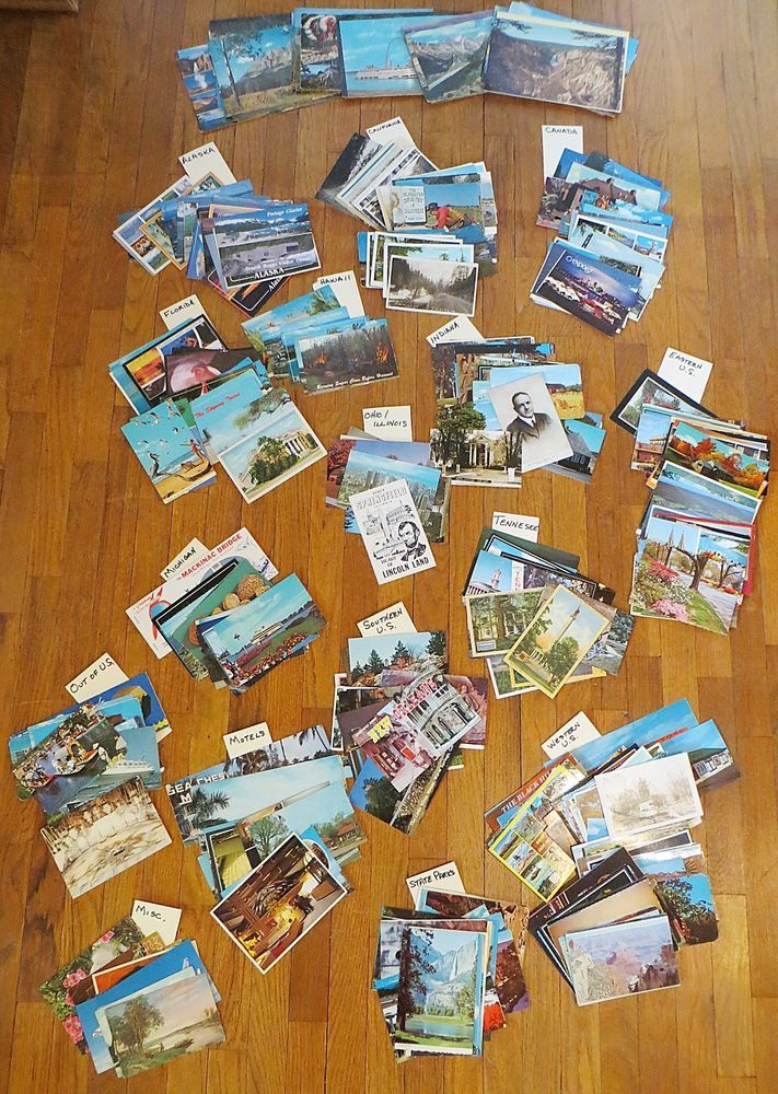Lot of vintage travel postcards. About 527 total postcards plus four vintage Genuine Photographs souvenirs with photos. About 34 states represented. Most postcards are unposted.