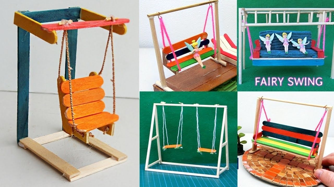 7 Easy Miniature Playground Swings Popsicle Stick Crafts Ideas