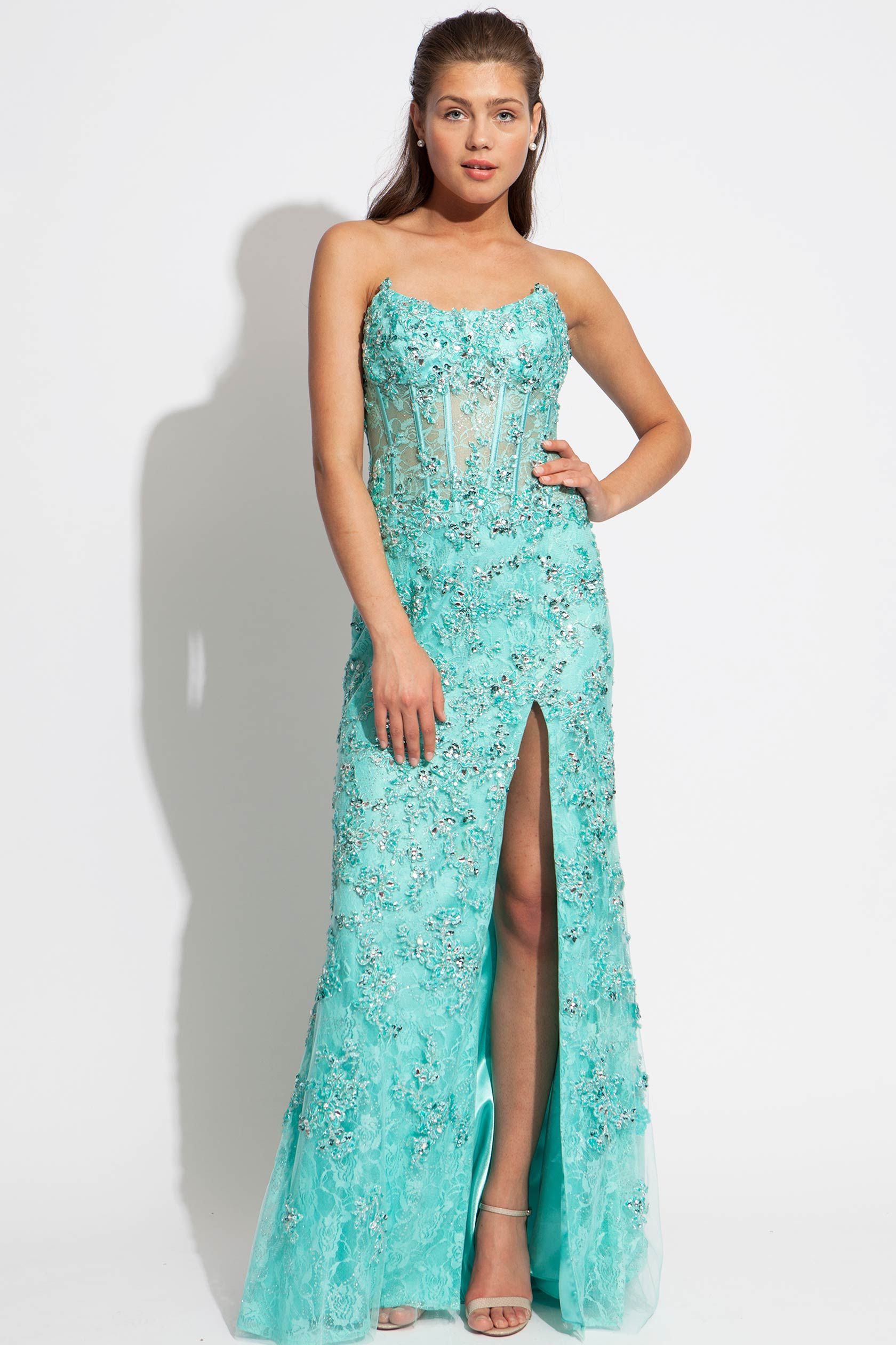 Floor length beaded and lace Jovani gown | Dresses! | Pinterest ...