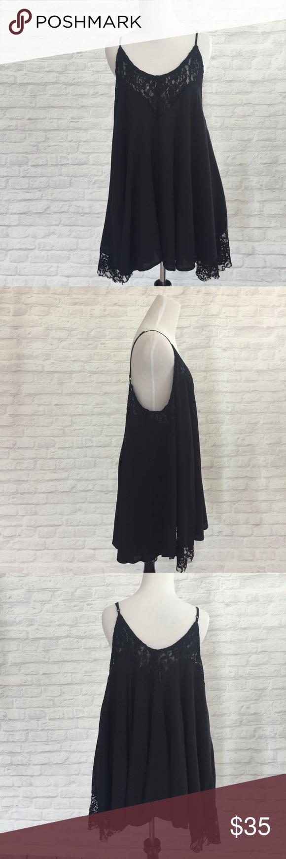 M boutique lace dress  Black Lace Tank Dress size M  Boutique dresses Tank dress and