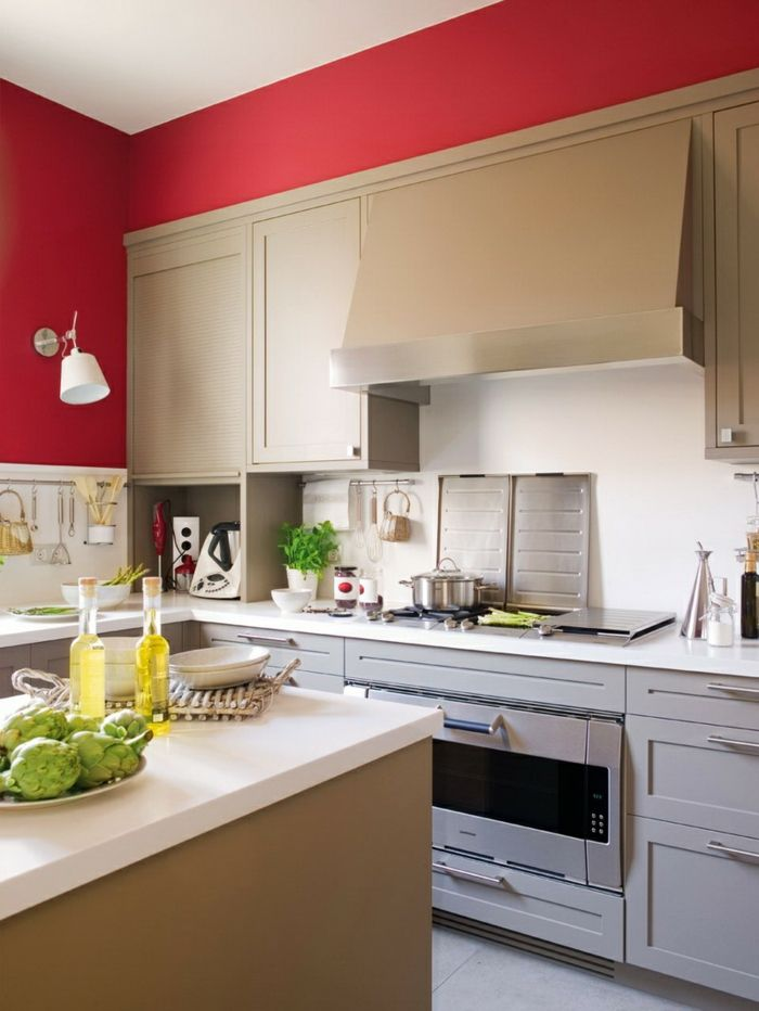 küche wandgestaltung rote wandfarbe weiße küchenschränke Pinterest - wandgestaltung mit farbe küche