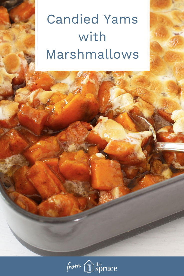 The combination of sweet potatoes with marshmallows has long been a favorite of Americans of all ages. If you aren't a fan of the marshmallow topping, leave them out or add the marshmallows to only half of the dish. #candiedyams #yams #sidedishes #sidedish #thanksgivingrecipes #thanksgivingrecipe #thanksgiving #sweetpotatocasserolewithmarshmallows