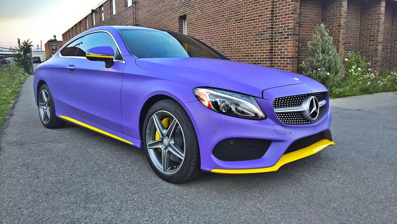 Mercedes C300 Matte Royal Purple Car Wraps Mississauga