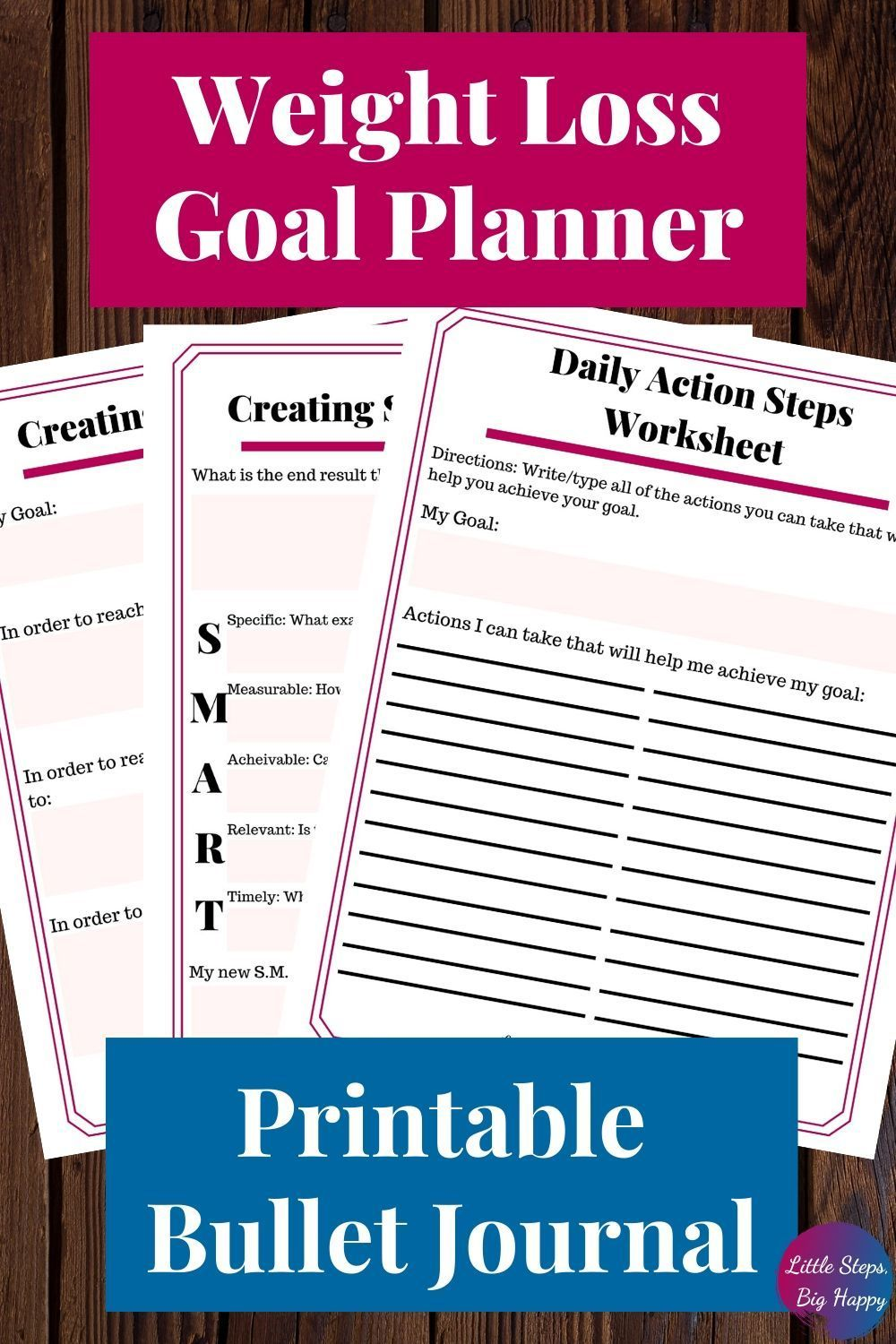 You don't want to miss this goal planner printable. This 10 page workbook will help you plan out your yearly, monthly, and weekly goals. Designed in a bullet journal style to be simple and easy to use. Get your life and your weight loss on track in 2020!