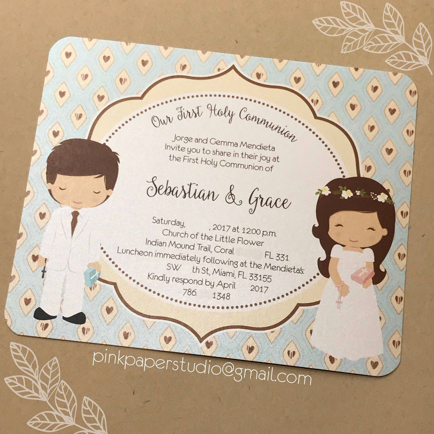 First Holy munion Invitation for Siblings • Invitation es with