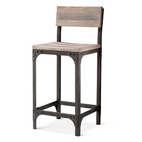 Franklin Low Back 24 Quot Counter Stool The Industrial Shop Target Farmhouse Style Bar Stools Bar Stools With Backs Bar Stools