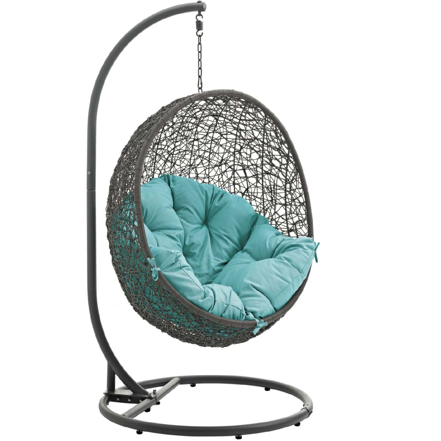Modway Hide Outdoor Swing Chair Gray Steel Poly Rattan