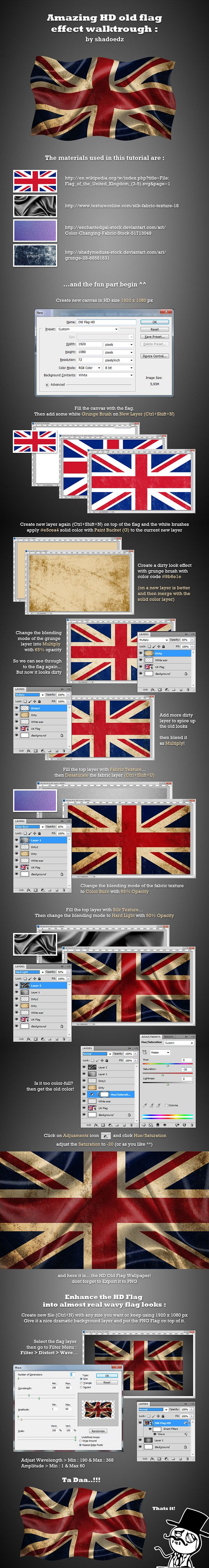 Photoshop HD Old Flag-Effekt