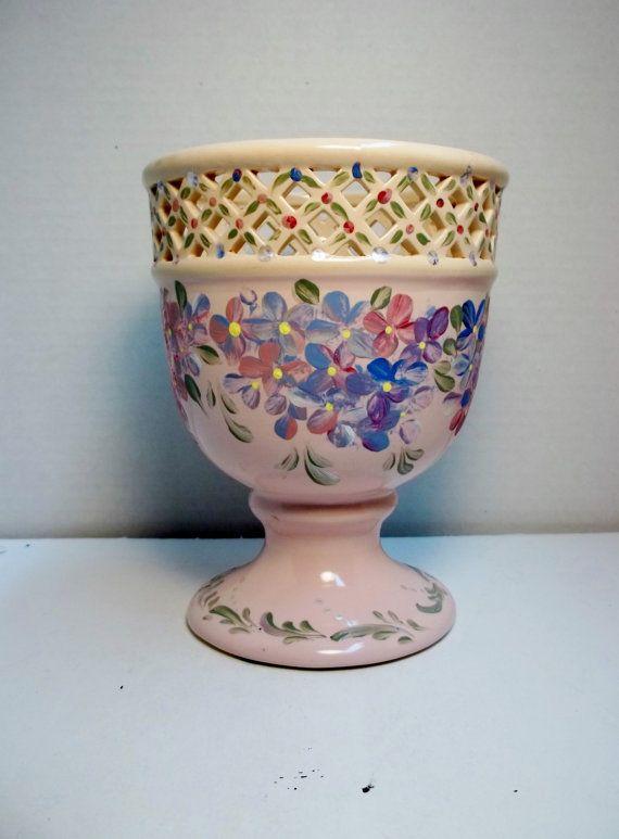 Ceramic Vase Pink Hand Hand Painted Design My Garden Hydrangea