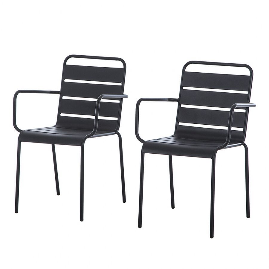 Tuinstoelen Palmy (2-delige set) metaal antracietkleurig - 119€ - home24.be