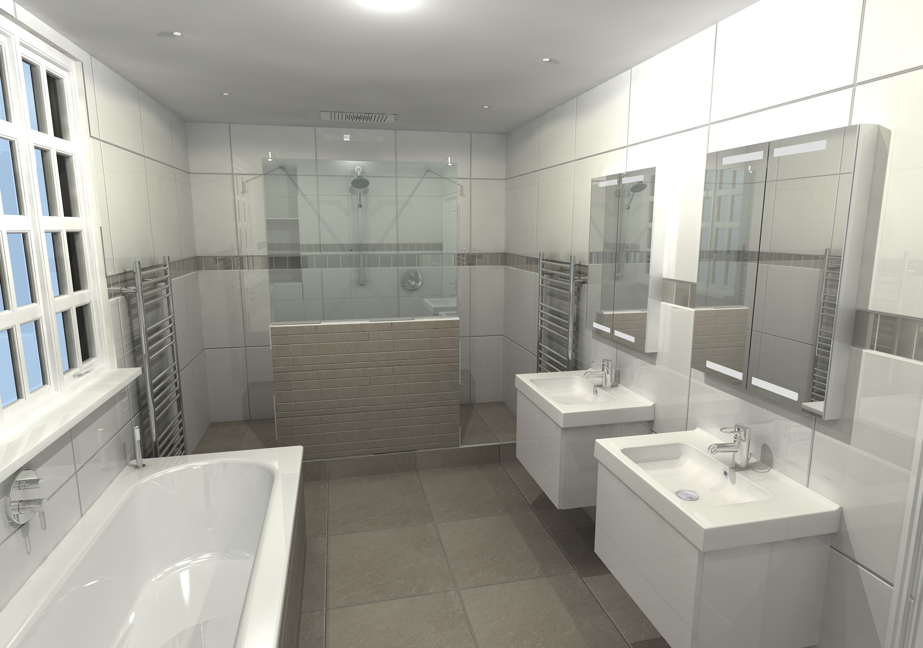 This Large Ensuite Design Shows A Large Double Entry Shower With Modesty Wall The Rear Of Which Boasts Stora Ensuite Design New Bathroom Ideas Mirror Cabinets