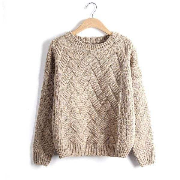 Pink O Neck Long Sleeve Wave Knit Pullovers Plaid Pull