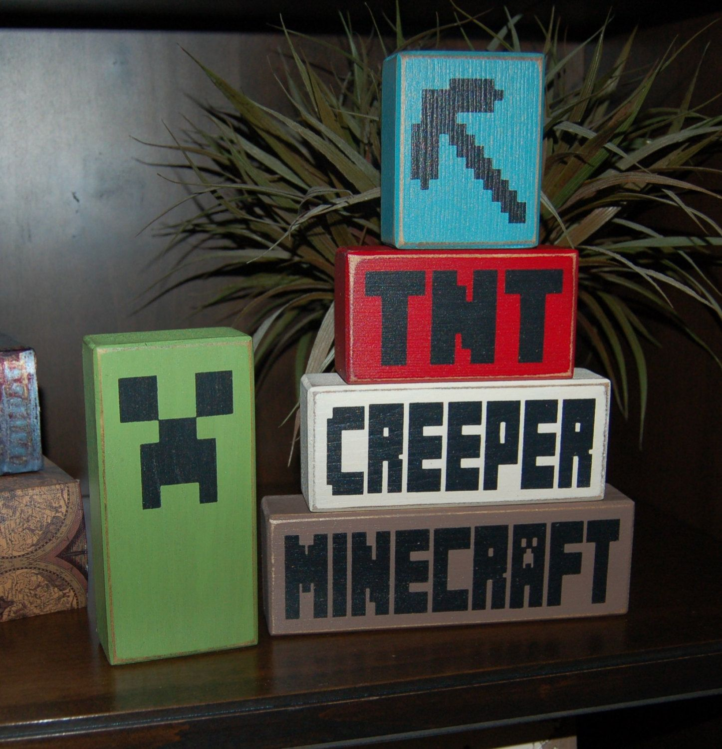 MINECRAFT Creeper TNT Pick Axe Primitive Wooden Sign Stacking Blocks Children Minecraft Birthday Decor Centerpiece Bedroom Nursery Decor by SimpleBlockSayings on Etsy https://www.etsy.com/listing/220529494/minecraft-creeper-tnt-pick-axe-primitive
