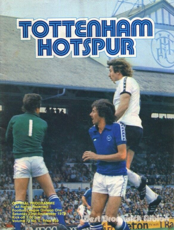 Tottenham 1 West Brom 1 in Sept 1979 at White Hart Lane. The programme cover #Div1