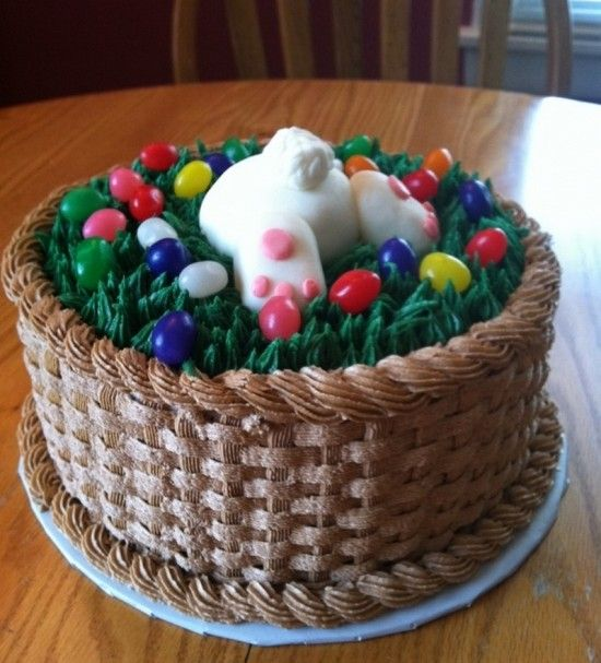 Wonderful diy easter bunny butt cakes cake easter and recipes bunny butt easter basket this was my first attempt at a basket triple layer strawberry cake with buttercream basket and grass fondant bunny negle Choice Image