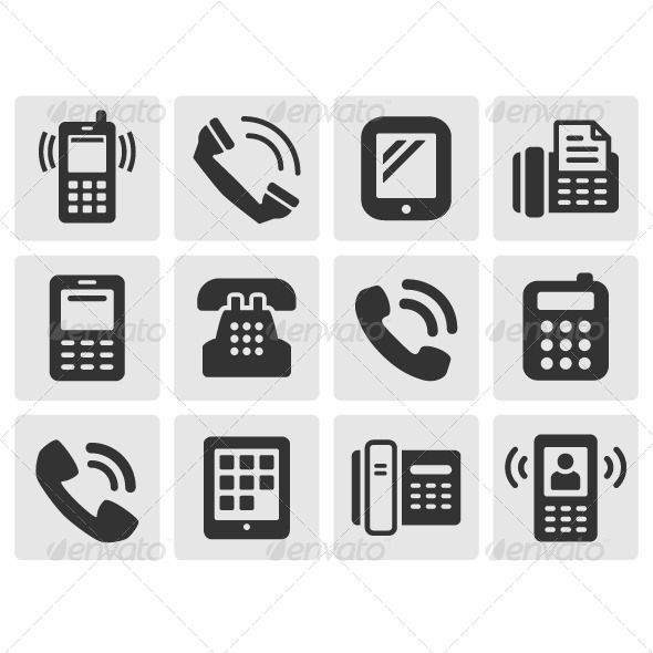 Black Phone Icons  #GraphicRiver         Set of black various phone icons Zip file included EPS8 (editable) and JPG (high resolution)     Created: 13May13 GraphicsFilesIncluded: JPGImage #VectorEPS Layered: Yes MinimumAdobeCSVersion: CS Tags: black #call #cellphone #communication #communicator #connect #connection #designelements #device #dial #different #equipment #gadget #icons #mobile #office #phone #set #signs #smartphone #symbols #telephone