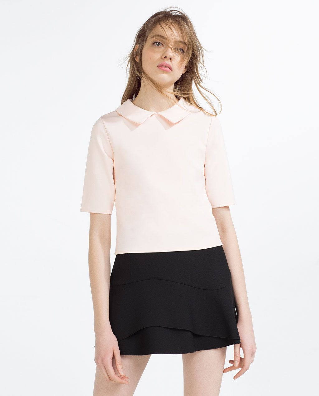 aa01f659 TOP WITH PETER PAN COLLAR-View All-T-SHIRTS-WOMAN | ZARA United States