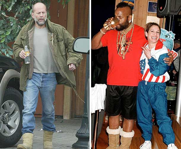 Mr T and Bruce Willis wearing Ugg boots (Pic: Rex Features and Splashnews.