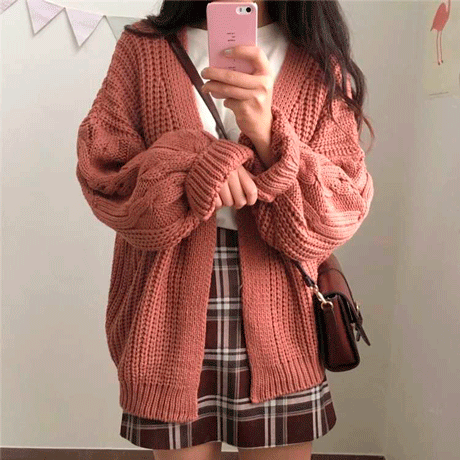 """70987764b813 itGirl Shop THICK KNIT VOLUME AESTHETIC BUTTONS CARDIGAN 💝Use coupon  """"ITPIN"""" to get 10% OFF entire order - itgirlclothing.com"""