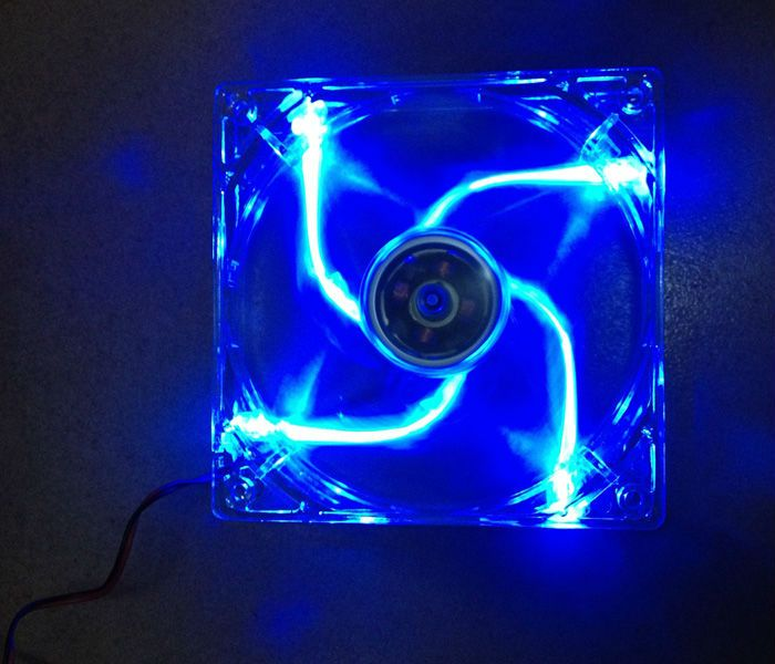 New 12cm Computer Case Fan Silent Blue Led Colorful Fan With Package 4pin Computer Case Pc Computer Computer Components