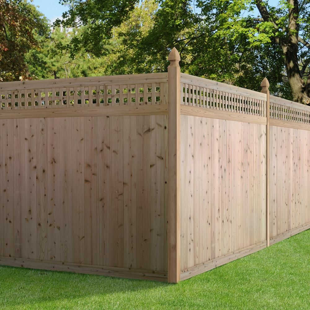 6 Ft X 8 Ft Cedar Square Lattice Top Fence Panel 310067 The Home Depot Fence With Lattice Top Square Lattice Fence Panels