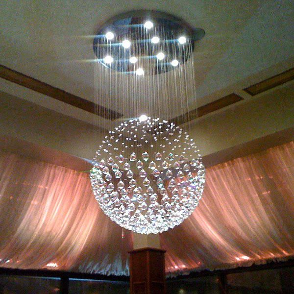 Modern Sphere Crystal Chandelier Ceiling Light Round Pendant Lamp LED Lighting