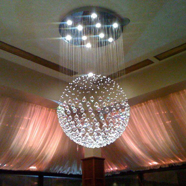 Modern Sphere Crystal Chandelier Ceiling Light Round Pendant Lamp ...