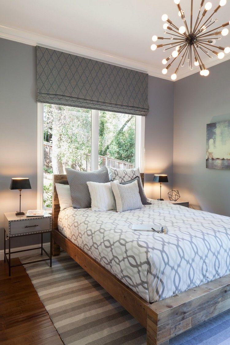 Wundervoll Farbgestaltung Schlafzimmer Steingraue Wandfarbe Holz Bett