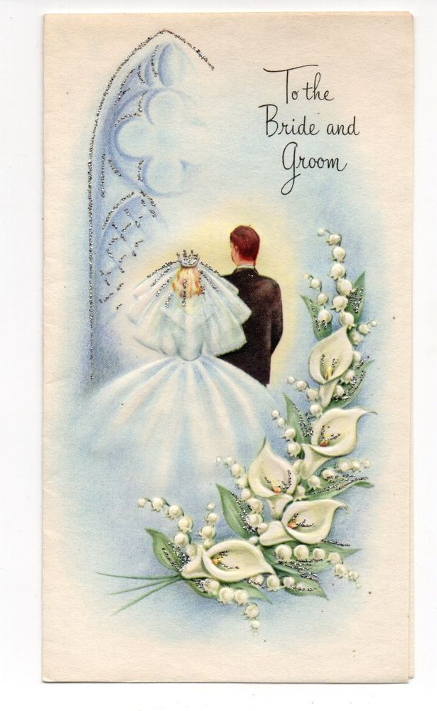 vintage wedding greeting card bride  u0026 groom flowers