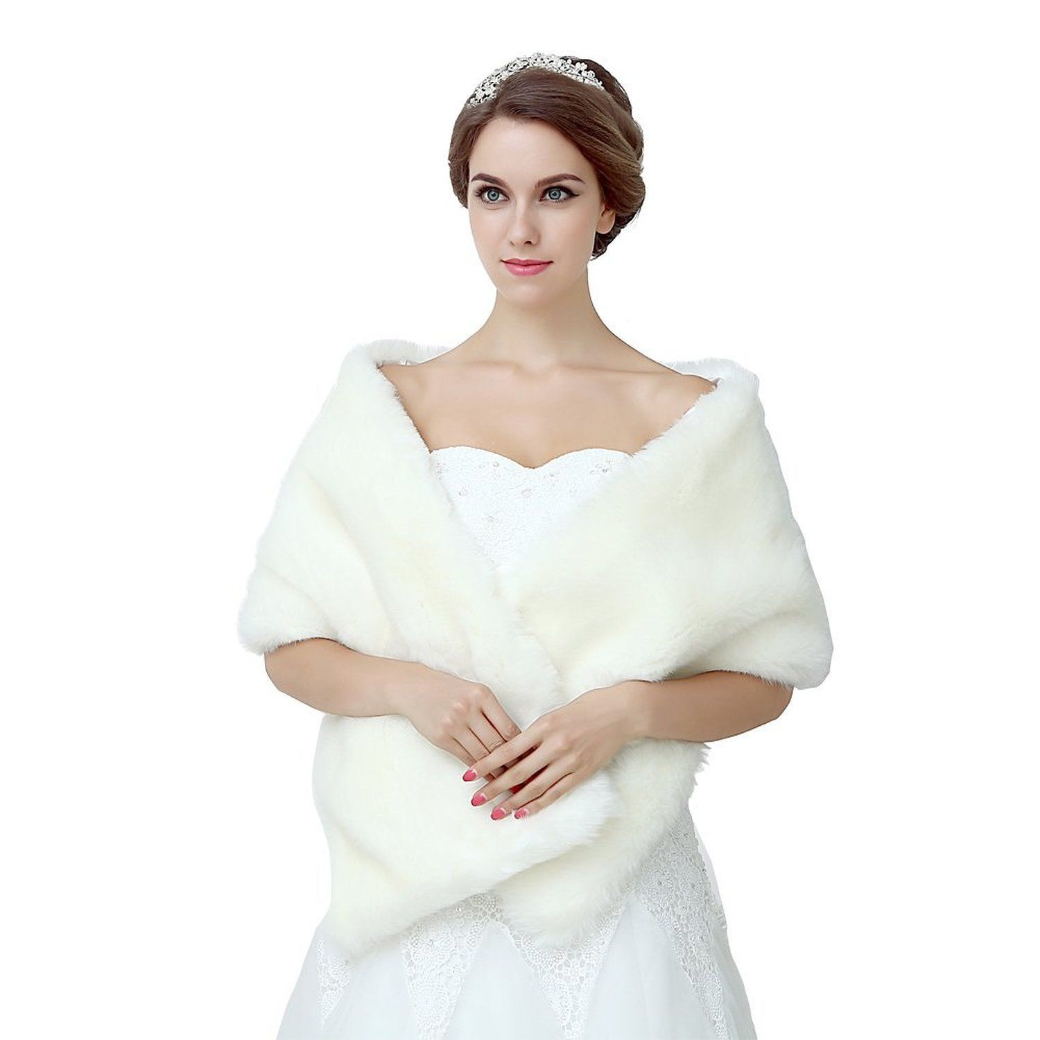 Diyouth Ivory Shawl Wrap Faux Fur Scarf Stoles for Wedding Dresses ...