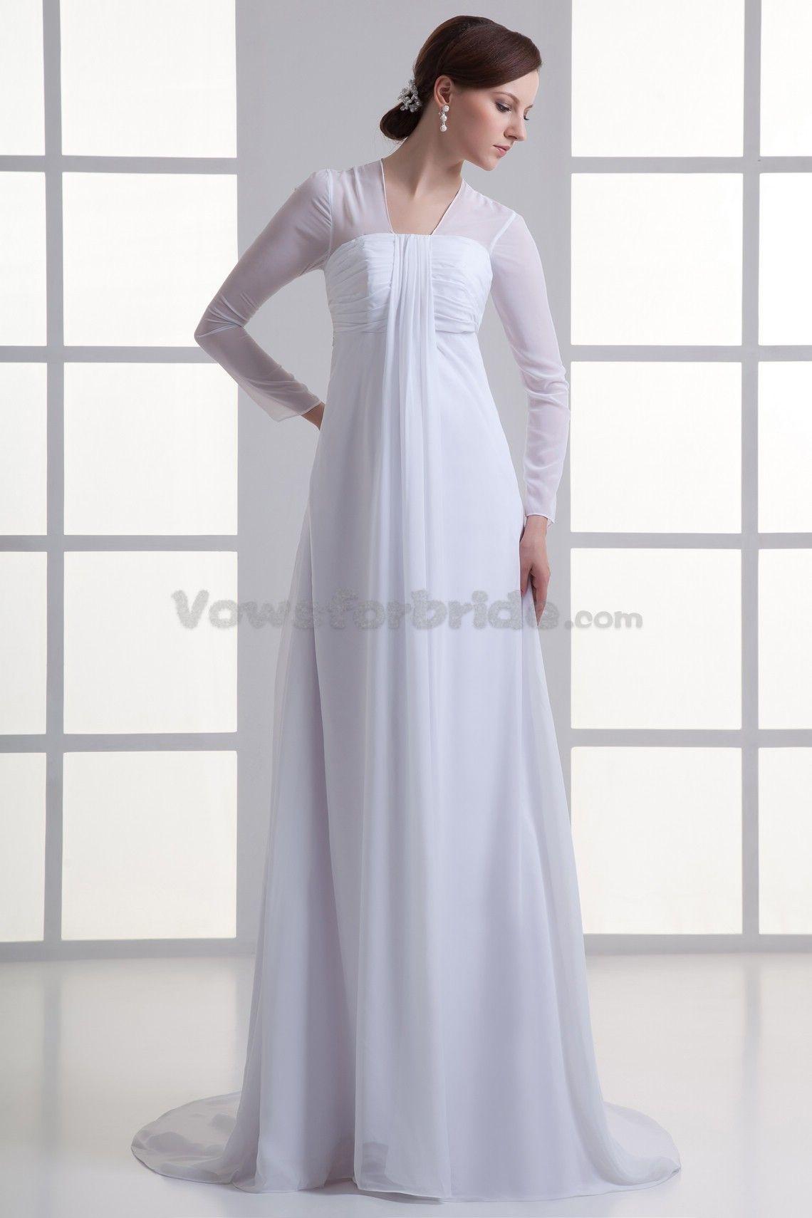 Chiffon strapless sweep train empire line wedding dress with three