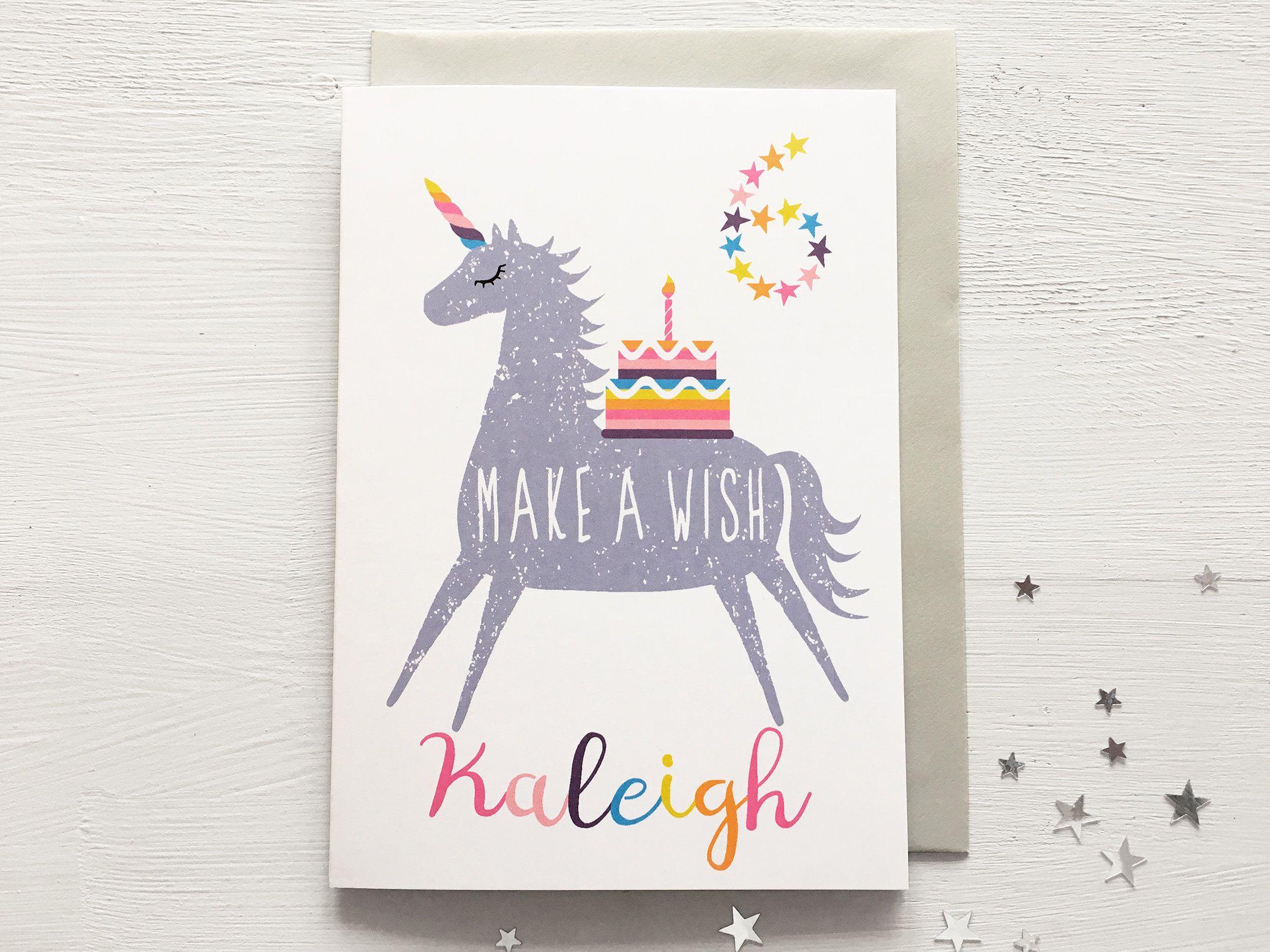 Girl S Personalised Unicorn Birthday Card Unicorn With Rainbow