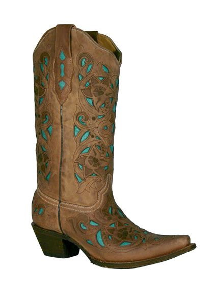 bc6cec210bb Corral Boots - Women's Goat/Laser Overlay Cowboy Boots - Chocolate ...