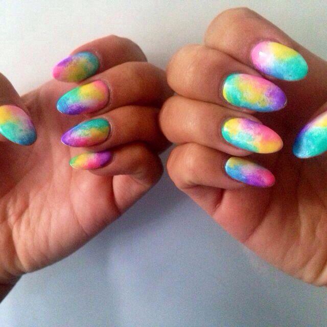 Tie Dye Rainbow Neon Acrylic Rave Nails Edm