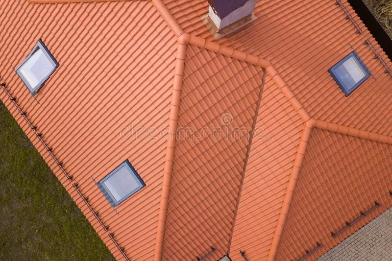 Aerial Top View Of House Metal Shingle Roof Brick Chimneys And Small Plastic At Sponsored Shingle Metal Metal Shingle Roof Brick Chimney Roof Shingles