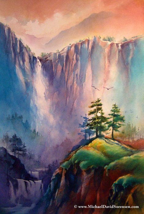 """Majestic Cliffs"" - Watercolor by Michael David Sorensen. http://www.michaeldavidsorensen.com/originals/majestic_cliffs.cfm www.facebook.com/michaeldavidsorensen"