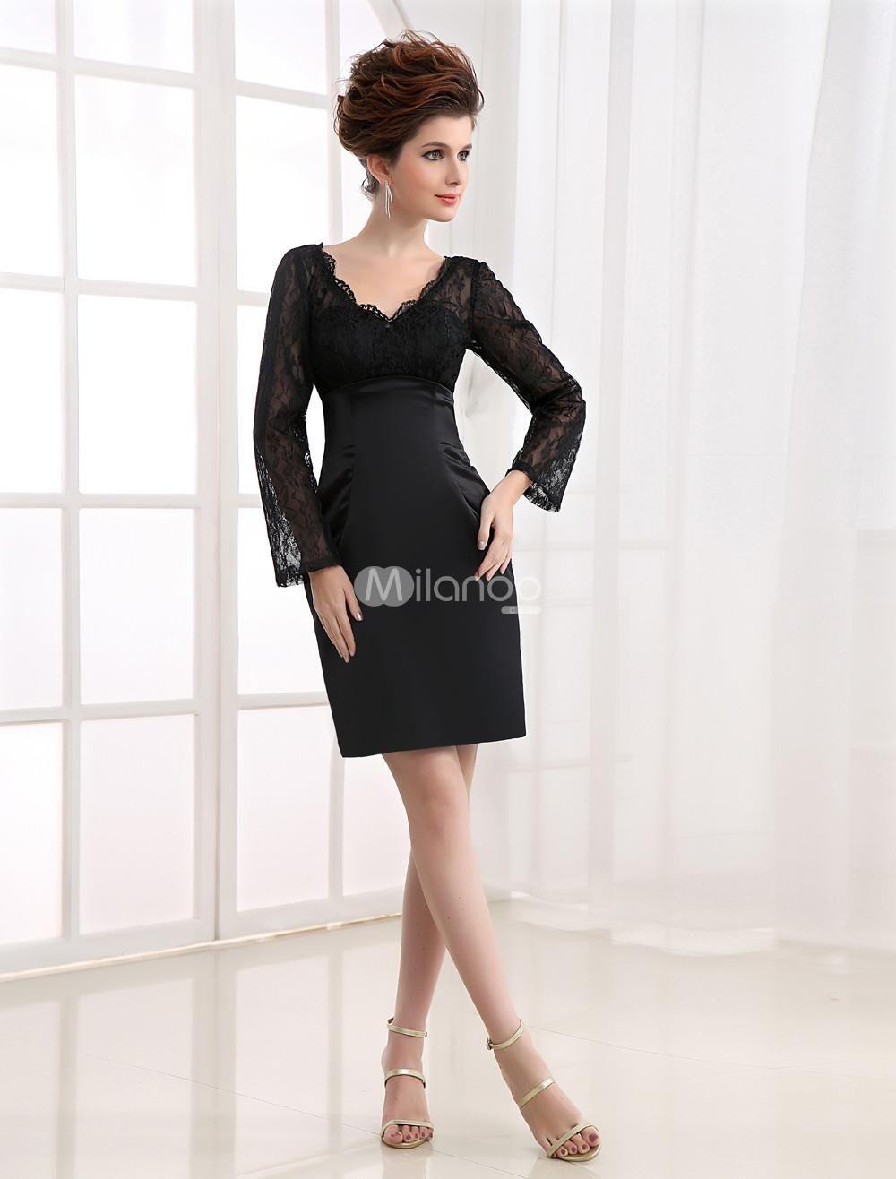 Black long sleeves lace vneck sheath satin cocktail dress we love
