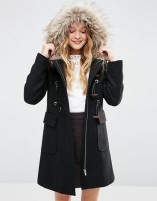 ASOS Wool Blend Faux Fur Hooded Duffle Coat | WANT | Pinterest ...