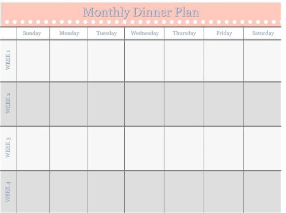 Home Management Binder  Free Templates Monthly Dinner Schedule