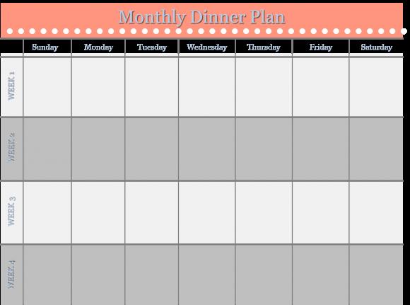 Home Management Binder  Free Templates Monthly Dinner Schedule