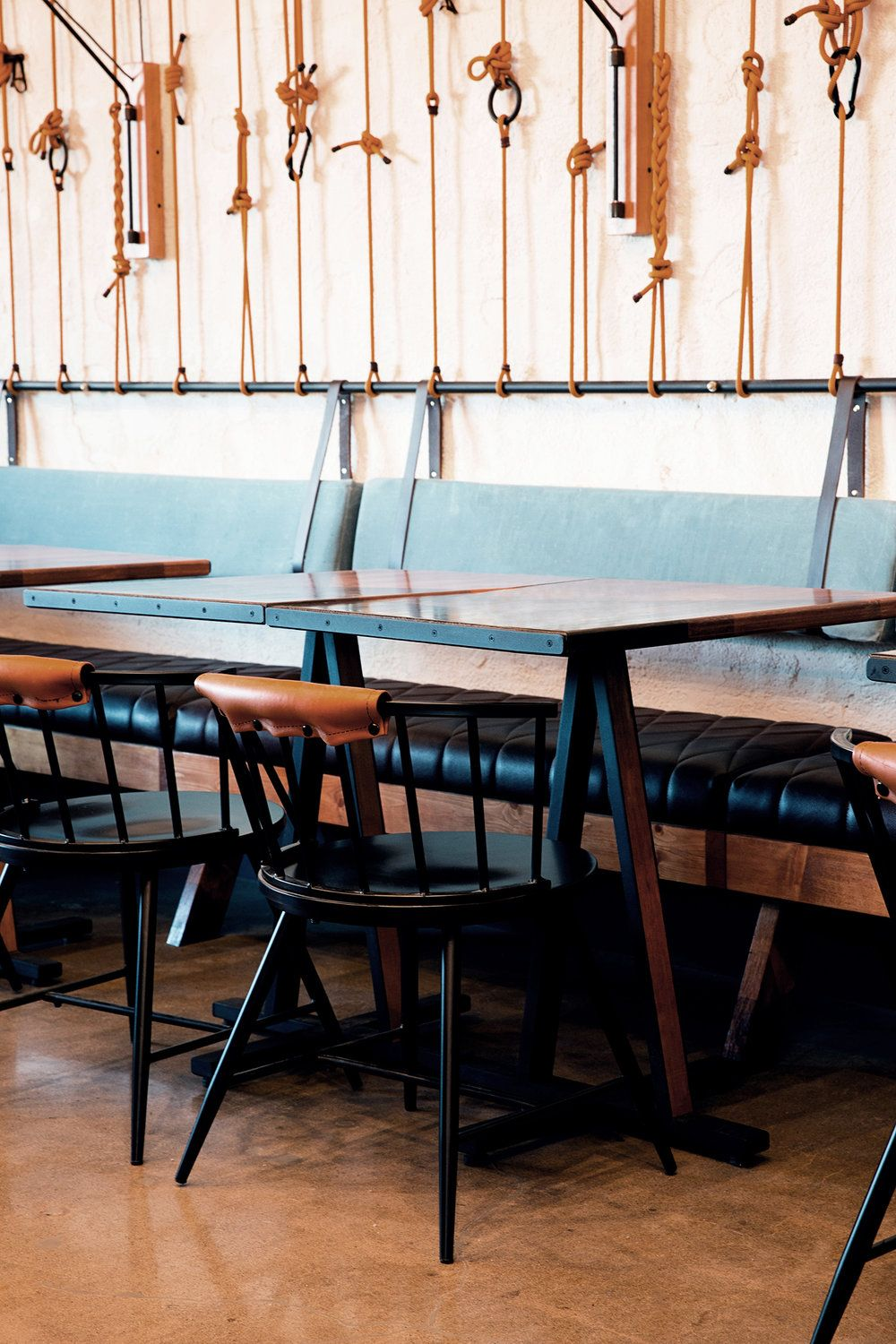 Restaurant Banquette Rope Wall Hanging Cushions Waxed ...