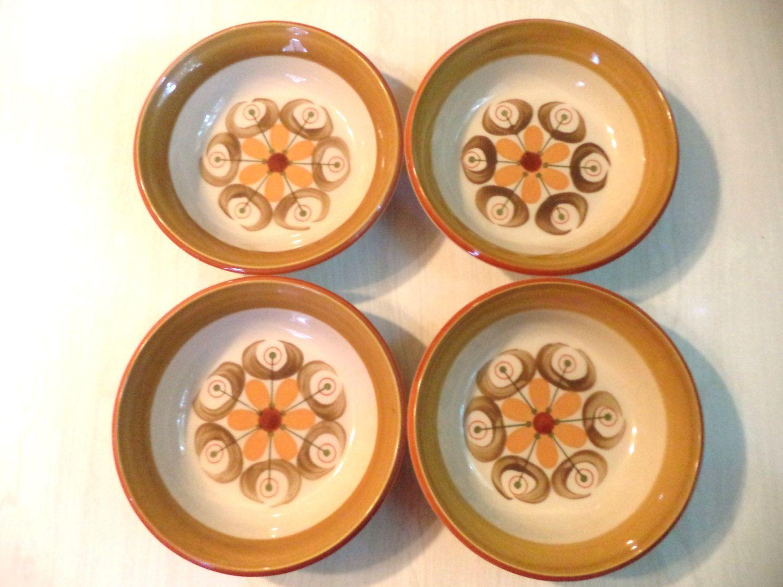 Vintage Stoneware Bowls Premiere Durastone Monterey Serving Dining 70s Japan Dishwasher Oven Safe Mod Abstract Flowers Orange Brown Green by ElleBeeVintage on Etsy