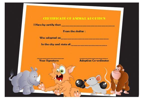 Animal Adoption Certificate  Adoption Certificate Template