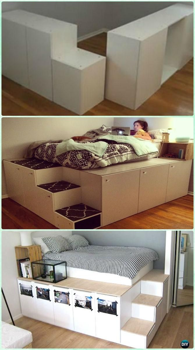 Wonderful DIY IKEA Kitchen Cabinet Platform Bed Instructions   DIY Space Savvy Bed  Frame Design Concepts Instructions