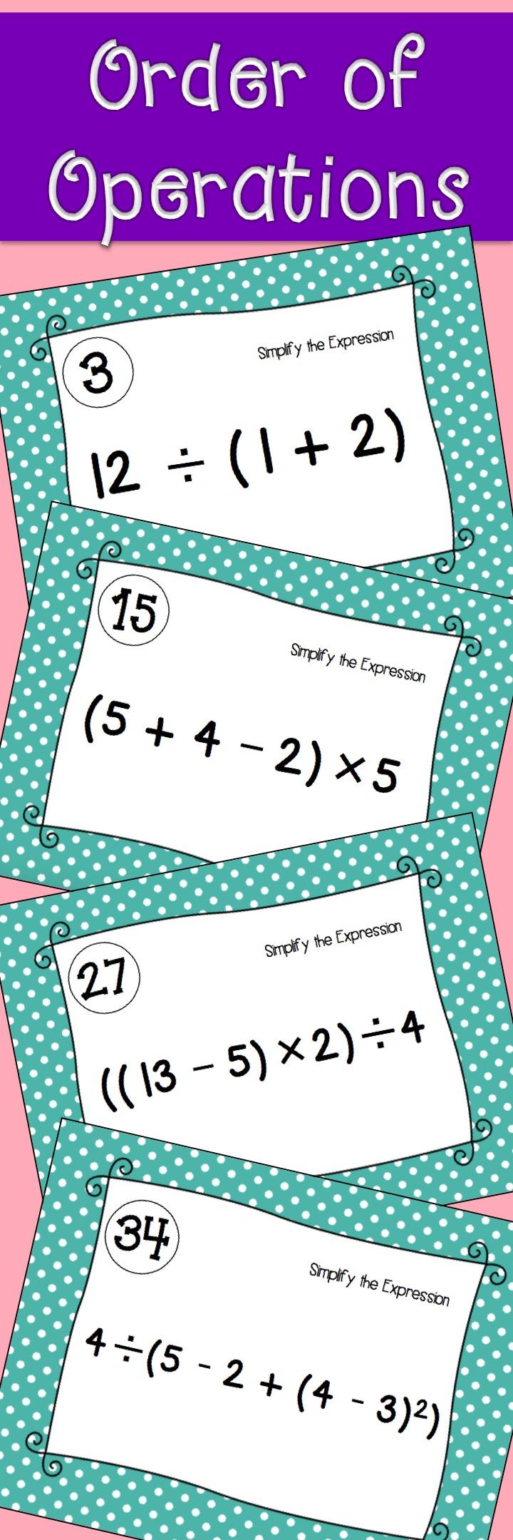 Order of Operations Task Cards: Print and Digital | Algebra, High ...