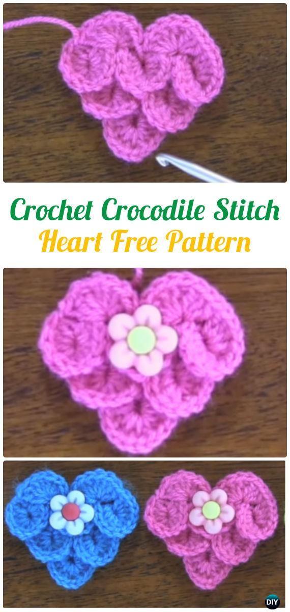 Häkeln Krokodil Stitch Herz Free Pattern - Häkeln Herz Applique Free ...