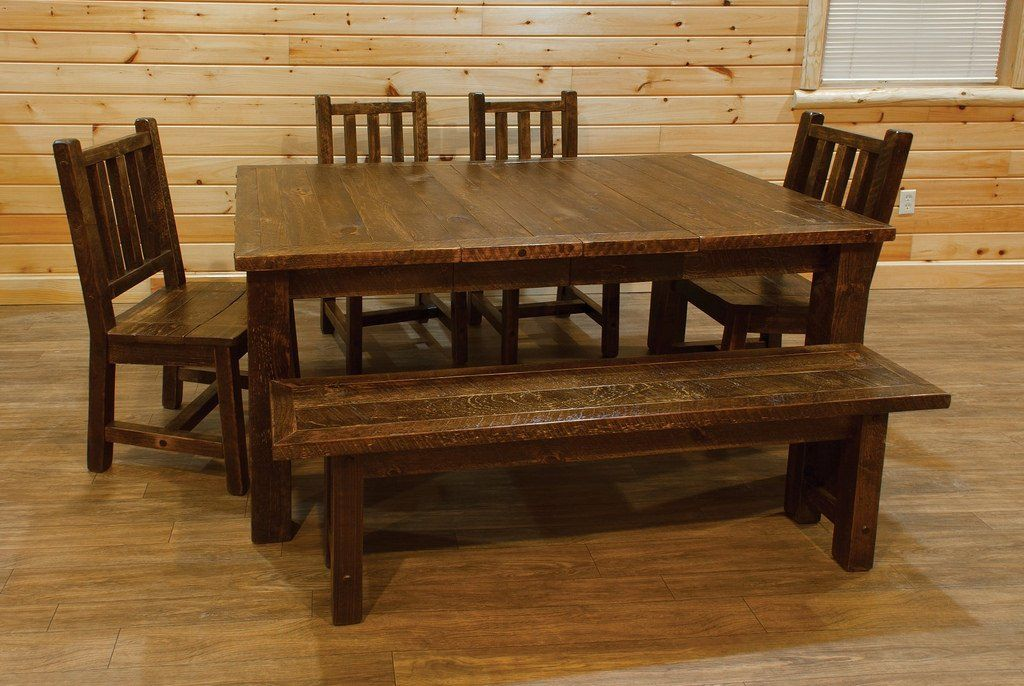 Barn Wood Style Timber Peg Extension Dining Table With 4 Chairs