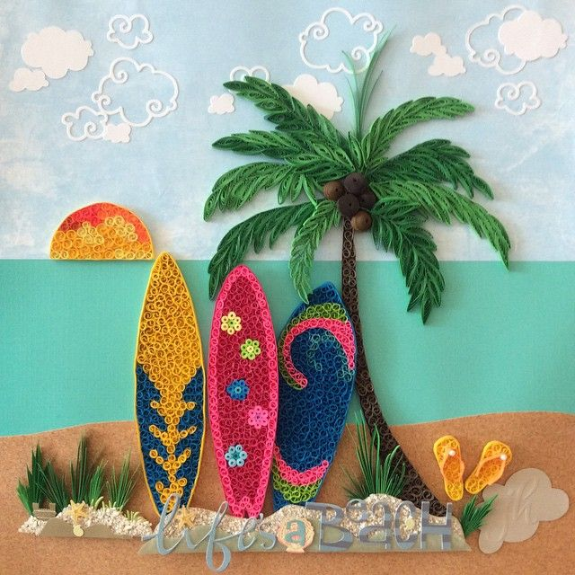 Quilled Surfboard, Palm Trees, Thongs, Sun & Grass