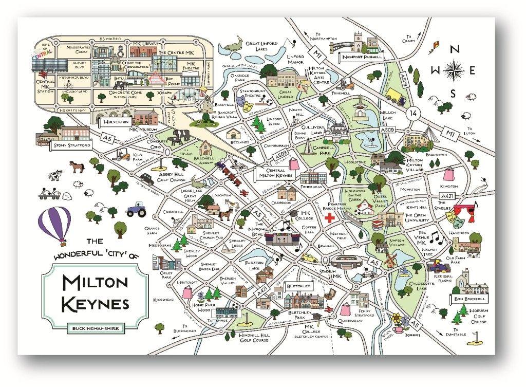 Cute Maps MK Shop Milton Keynes Souvenirs MK Print A Lost