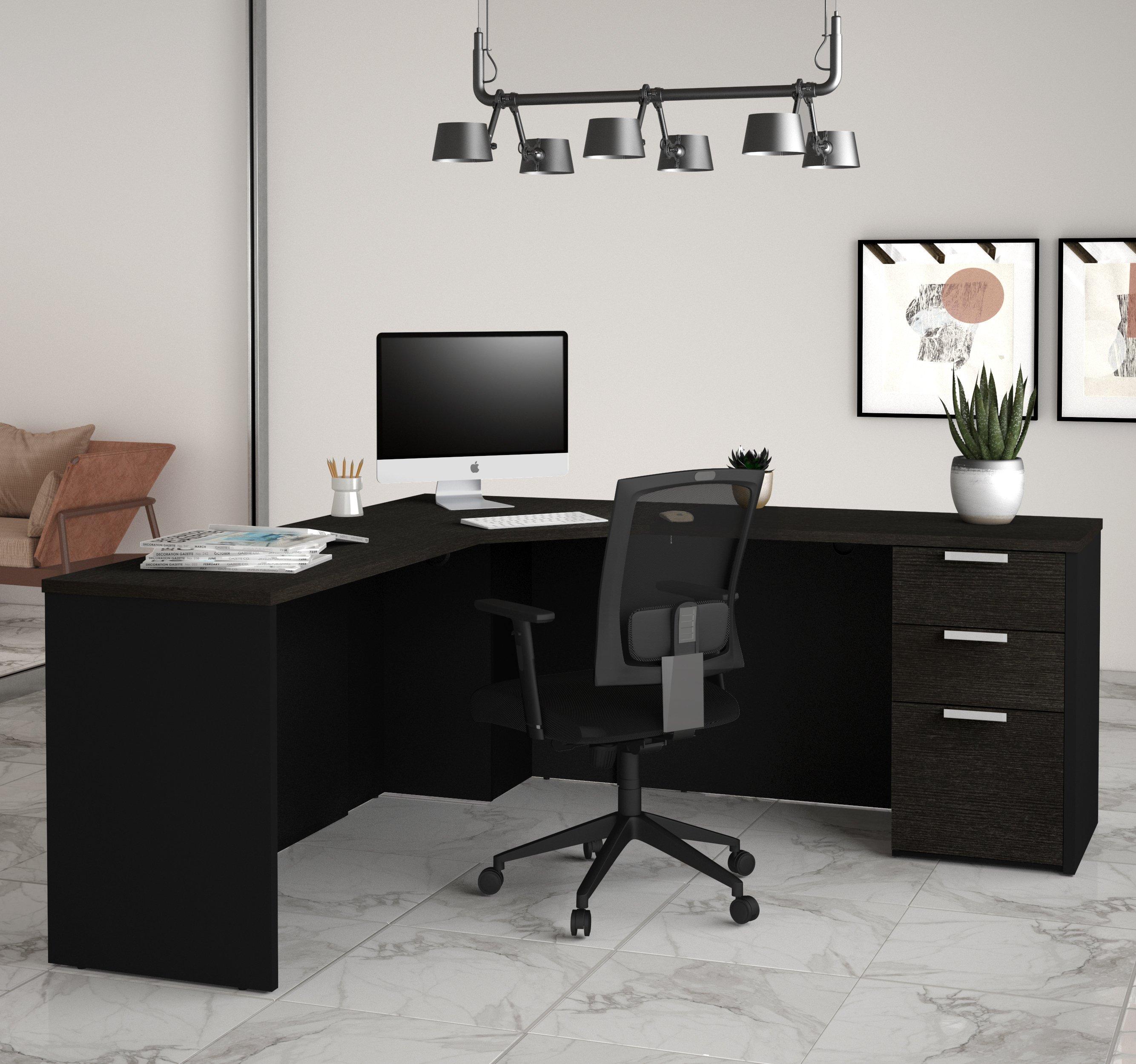 Modern Single Pedestal Corner Desk In Sleek Deep Gray Black Finish Corner Desk Office Organization At Work L Shaped Executive Desk